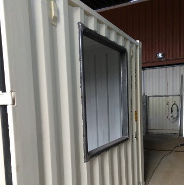 Shipping container window frame