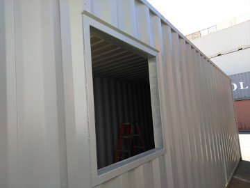Shipping container window steel frame