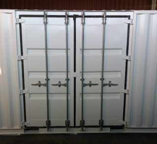 White shipping container With Side Doors
